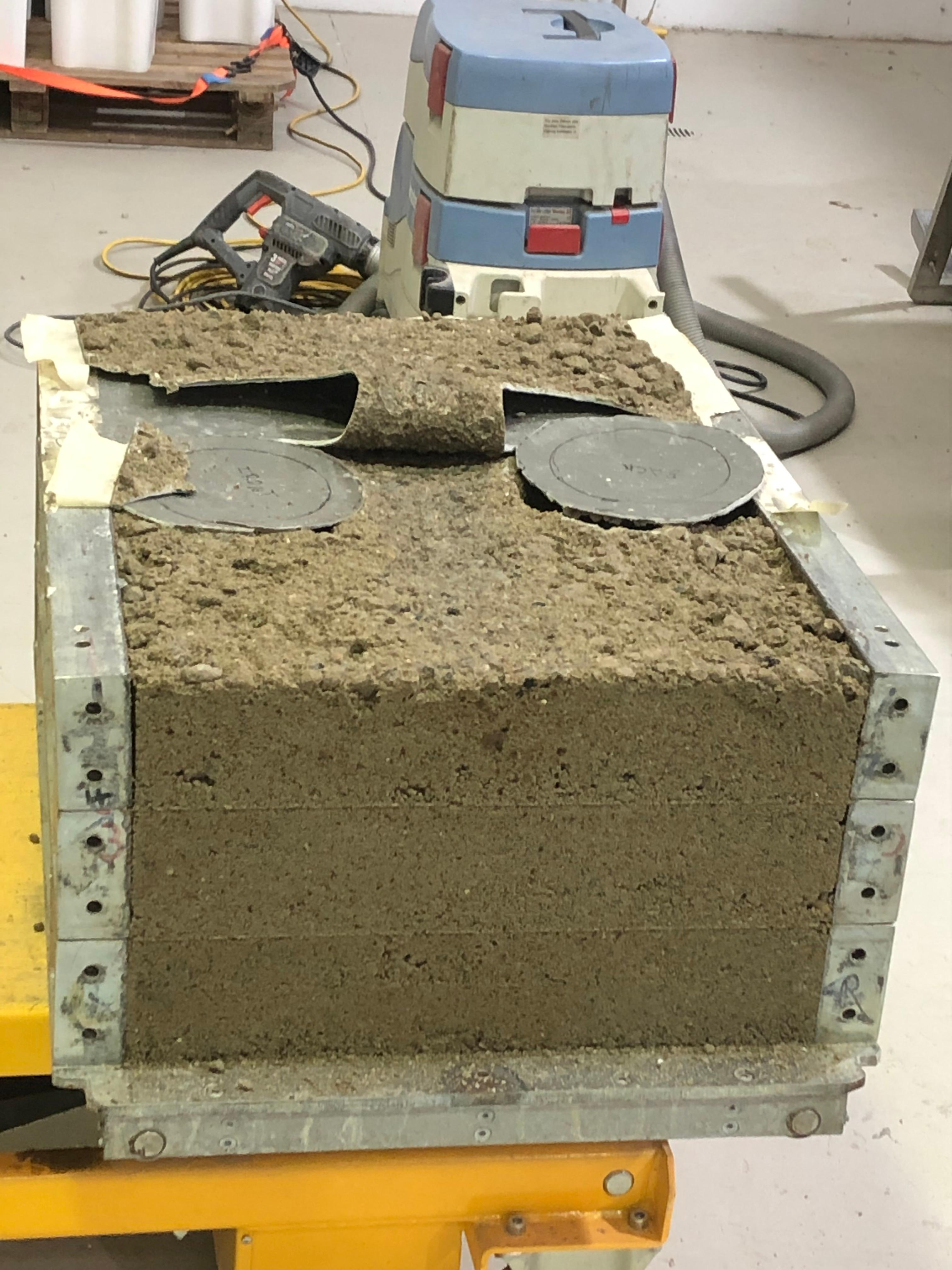 Recycled crushed glass and crushed concrete